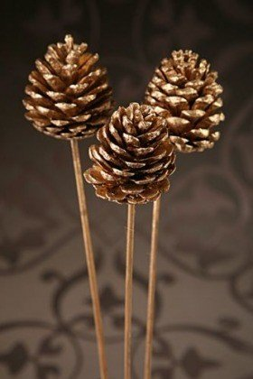 Golden pine cone at the pick  6 pcs / set.