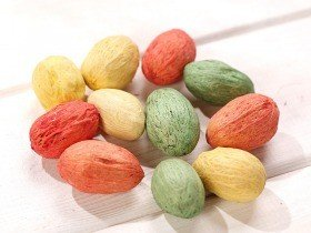 Green-Orange-Yellow Amra dyed balls, 12 pcs