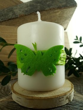 Green butterfly Easter candle