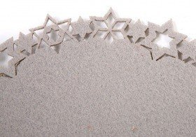 Grey felt mat with stars 20 cm
