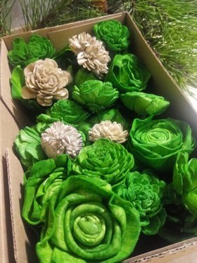 Handmade Christmas decorations -Flowers for the Christmas tree green with the addition of gray-30 pcs / pack