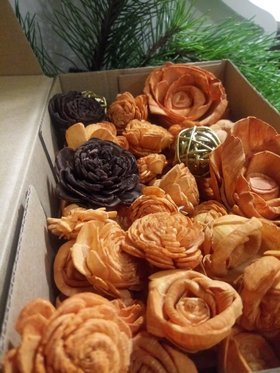Handmade Christmas decorations -Flowers for the Christmas tree shades of brown-30 pcs / pack