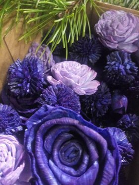 Handmade Christmas decorations - navy blue Christmas tree flowers with lavender - 30 pcs / pack