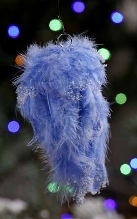 Hanger of feather, blue, 12-14cm