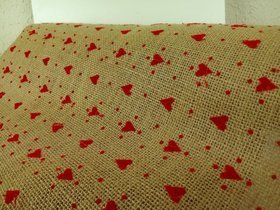 Jute fabric with hearts 40 cm / 250 cm