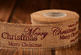 Jute ribbon 40 mm / 3 yd Merry Christmas - brown