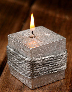 Jute silver candle 60 mm silver