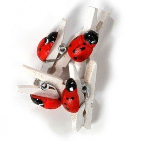 Ladybirds on clip 24 pcs/pkg - white