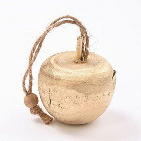 Large turned wooden gold-lacquered apples on a cord, 4 pcs/pkg