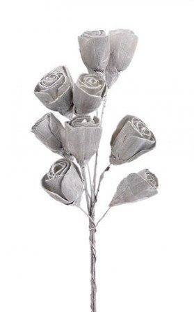 Lily midi flowers 2-3 cm with wire - 30 pcs/pkg - silver