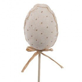 Linen egg on stick - cream colour
