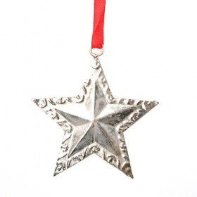 Metal star on red ribbon 8 cm