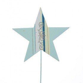 Metal star on stick 32 cm sky-blue