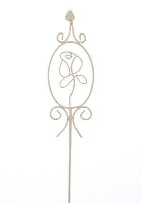 Metal white rose on stick 75 cm