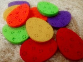 Multicolored felt eggs. Easter decorations made of felt 4 cm / 18pcs / pack
