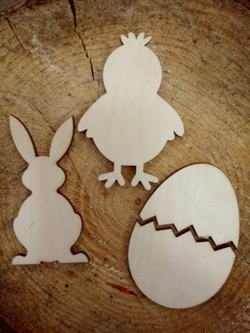 Natural Easter decorations - egg, chicken, hare 10 cm