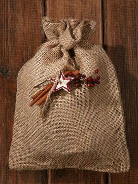 Natural jute sack 13/ 17 cm pattern 5