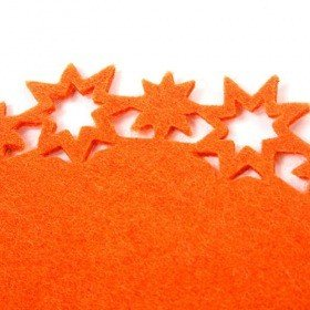 Orange felt mat with stars 20 cm