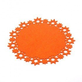 Orange felt mat with stars 30 cm