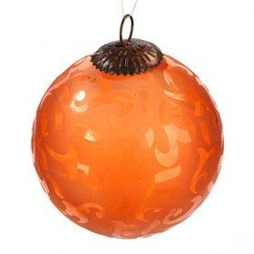 Orange glass ball with ornament, 13 cm