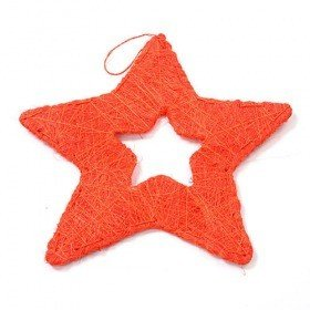Orange sisal star hanger 25 cm