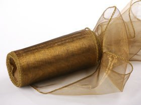 Organza Christmas ribbon, 12/900 cm gold tulle on a roll