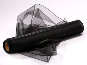 Organza, trimmed 40 cm, length 9 mb (black)