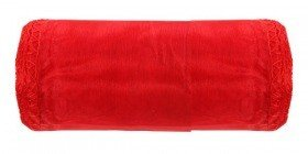 Organza trimmed, width 12 cm, length 9 m, red, slightly shiny