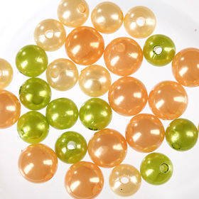 Original set (D) pearls ca. 250 pcs. gold-peachy-green