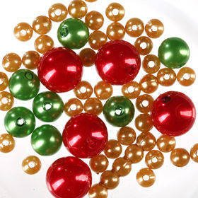 Original set (E) pearls ca. 250 pcs. green-red-gold