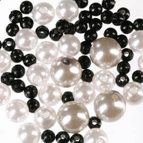 Original set (F) pearls ca. 250 pcs. white-black