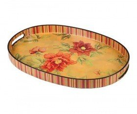 Oval tray, flower collection, 44 x 30 cm