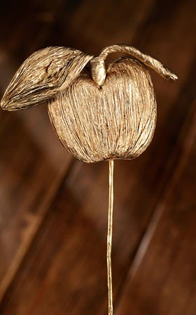 Paper apple on pick, 35 cm, gold