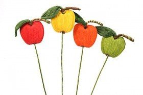 Paper apple on pick, 35 cm - yellow, orange, green, red