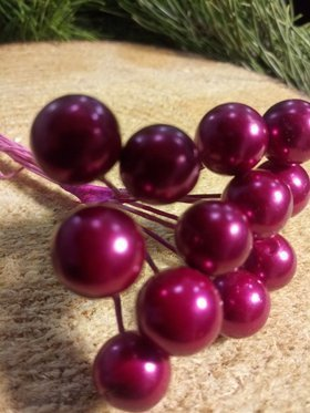Pearls beads on a wire, bundle purple 10mm / 10 cm, beads price for a bundle of 12 pcs