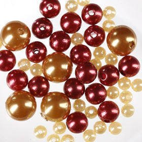 Pearls, decorative beads 50g, brown, gold, cream