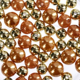 Pearls, decorative beads 50g gold