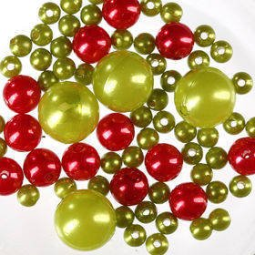 Pearls, decorative beads 50g green and red