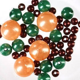 Pearls, decorative beads 50g green, brown, orange