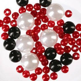 Pearls, decorative beads 50g red white black