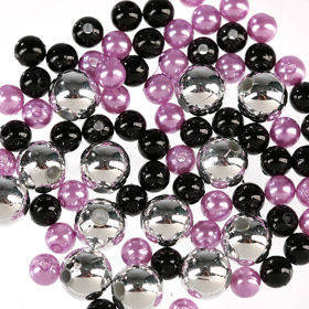 Pearls, decorative beads 50g violet silver black
