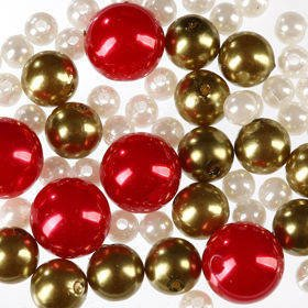 Pearls, decorative beads 50g white, gold and red