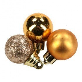 Plastic balls, diameter 20 mm - golden mix, gold matt, gold glitter, packaging 12 pcs.