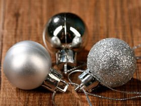 Plastic balls, diameter 20 mm - mix, matt, silver glitter, packaging 12 pcs.