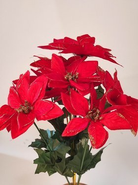 Poinsettia (star of Bethlehem) velvet 9 flowers 25 cm