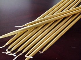 Pointed candle 10 pcs/pkg - gold metallic