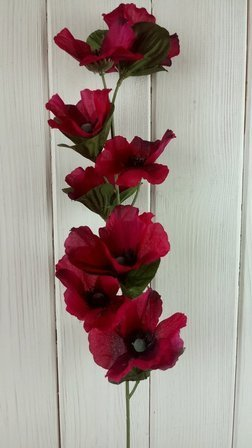 Poppy flower branch artificial RED / PINK 56 cm 1 pc.