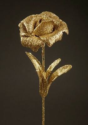 ROSE WITH GLACES flower branch artificial leaf GOLD 28cm