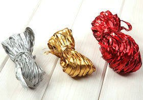 Raffia 3x 15m / W:2cm RED-SILVER-GOLD (mix 6)