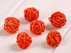 Rattan balls, diameter 2-3 cm, orange, 12 pcs/pkg